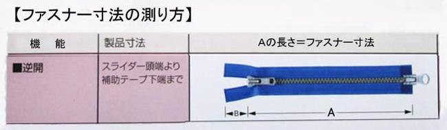 逆開オープンファスナーの測り方